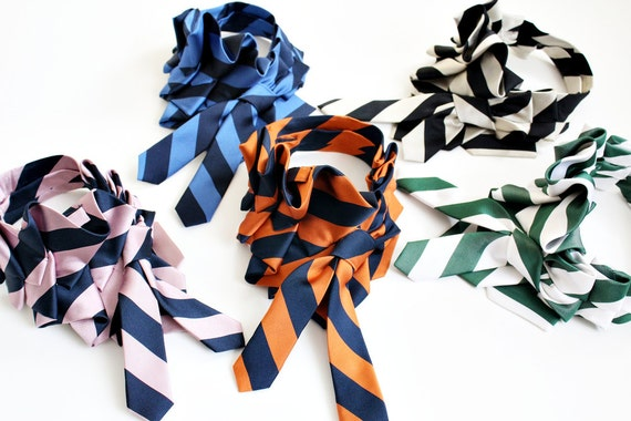 Upcyced Necktie Ruffle Scarf in Schoolyard Stripes
