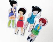 Sticker Set - Rude Girls set of four - cheeky inappropriate collection