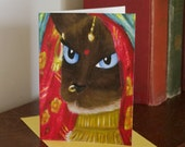 Siamese Cat Greeting Card, Indian Sari Bellydancing Veil, CLEARANCE card