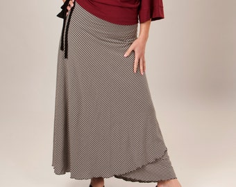 Bamboo Striped Maxi Wrap Skirt - Eco Fashion Custom Made to Order