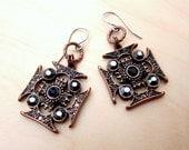 Regal Antiqued Copper Cross Glass Rhinestone Earrings