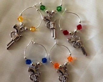 Six Shooter Gun Wine Glass Charm Set