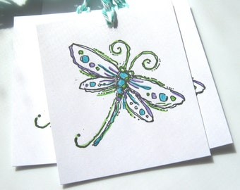 Dragonfly Gift Tags, Purple and Turquoise Dragonfly Tags