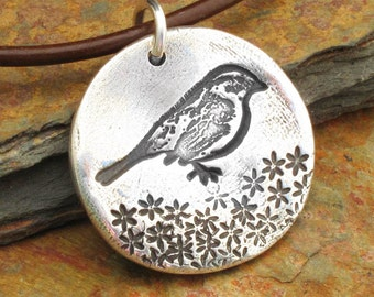 PMC Fine Silver Bird Necklace - Sparrow in a Garden