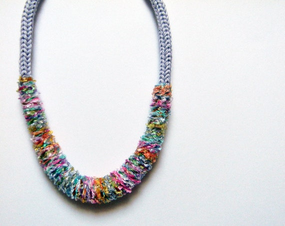 Knit necklace wisteria and mixed colors, Missoni cotton, yarn jewelry.
