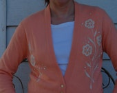 Vintage Tabak of California Peach 50s Cardigan Sweater with Floral Applique