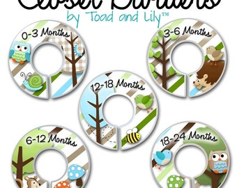 CLOSET DIVIDERS Owls Love Stripes Boys Forest Woodland Bedroom and Baby Nursery Art Decor CD0006