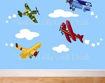 Fabric wall decals farm animal barnyard mural set girls boys for Childrens airplane fabric