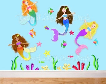 fabric wall decals ocean creatures fish fishy kids bathroom  etsy, Home decor