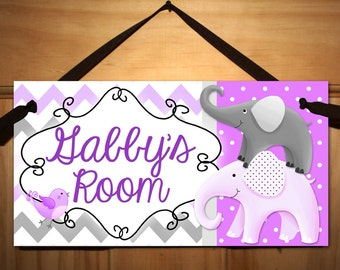 Purple and Grey All Creatures Big and Small Girls Bedroom Baby Nursery DOOR SIGN Wall Art DS0292