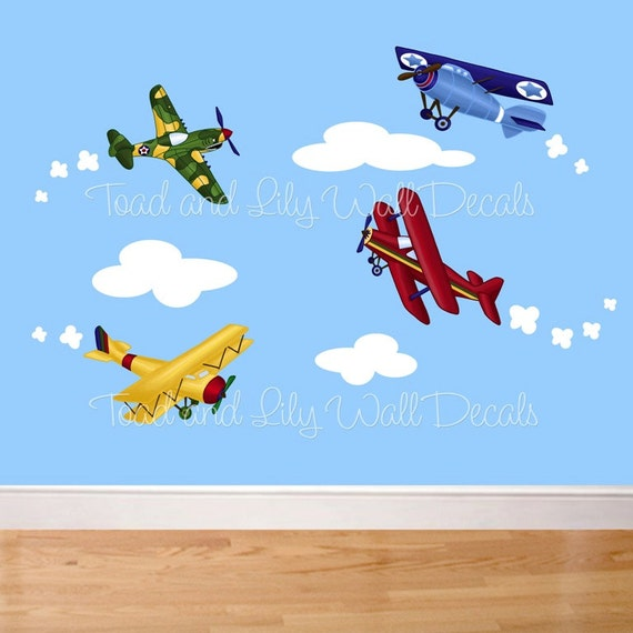 Fabric WALL DECALS Up Up and Away Little Airplanes Planes Transportation Boy's Bedroom Playroom Baby Nursery Kids Wall Art Decals