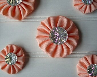 Yo Yo Flower - Fabric Yo Yos - Wedding Decor - Wedding Decoration - Wedding Bling - Bridal Bling - Peach