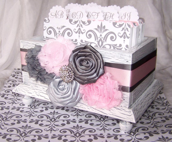 GUEST Book Box, Light Pink and Gray wedding, White Shabby Chic Box, Dividers, Damask, Chevron, Advice Box, Custom Colors