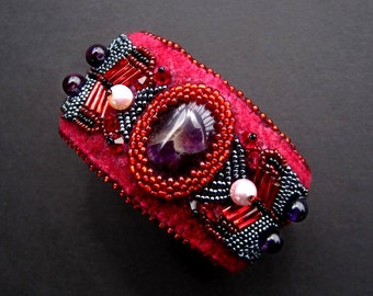 """Bead Embroidered Cuff READY TO SHIP, Amethyst and Pearl, Red and Purple--""""Syn"""" by CircesHouse on Etsy"""