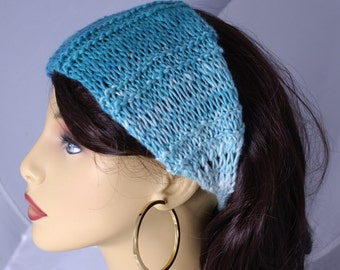 Dread Wrap Headwrap Ear Warmer Headband in Aqua Turquoise Knit Ready to Ship