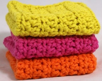 Crochet Washcloths Dishcloths in Bright Colors Set of 3 Cotton
