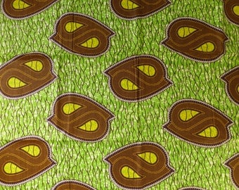Lime Tribal print wax Fabric-by-the-yard African Tribal print batik style fabric 100% cotton
