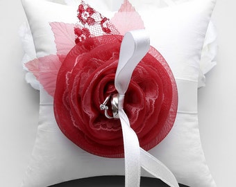 Red flower ring pillow, ring bearer pillow, ring holder - Rosetta