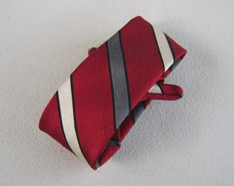 Vintage Silk Clip On Necktie Fifties Men's Tie Red Grey Pearl