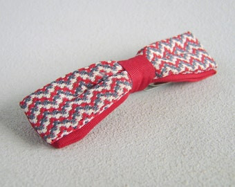 Vintage Men/Boys Clip On Bow Tie Red Grey Cream Dr. Who Bowtie