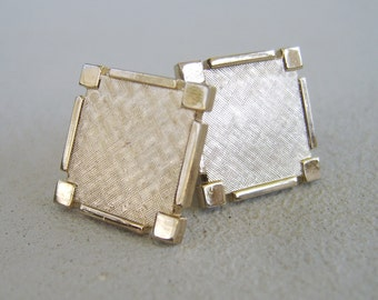 Vintage Mens Pale Gold Cuff Links Mid Century Square