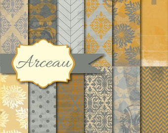 Instant Download - Arceau gray and yellow 12x12 printable paper set digital download