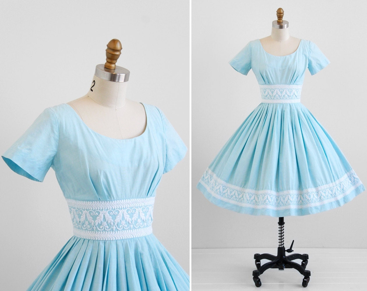 Vintage 1950s Dress / 50s Dress / Sky Blue Cotton Dress With