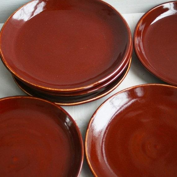 SALE Ceramic Dinner Plates Rustic Deep Red Garnet Plates