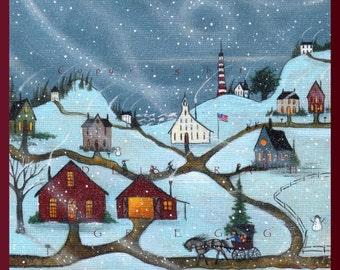 Snow Day A small School House Snow Storm Lighthouse, Coastal  Village PRINT by Deborah Gregg