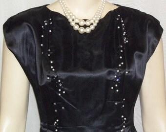 Vintage 1960's Frederick's of Hollywood Satin Cocktail Wiggle Dress Black Jacket 8