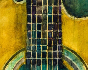 This old Martin Acoustic Guitar-  Watercolor Art Print - Size  8.5 x 11