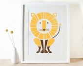 Lion Print, Large Screenprint, Jungle Art, Poster Sized