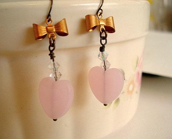 Heart Earrings Pink Glass Heart Earrings Brass Bow Drop