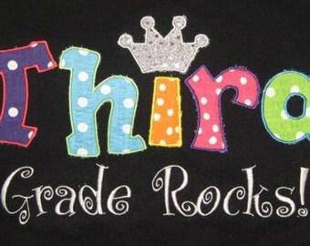 Boutique Custom Personalized 3rd Third Grade Rocks School Shirt