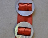 2 Vintage Smokey Mother of Pearl Ribbon Slides - Beautiful Ribbon Belt Buckles - Vintage Mother of Pearl - MOP - Antique Accessories -