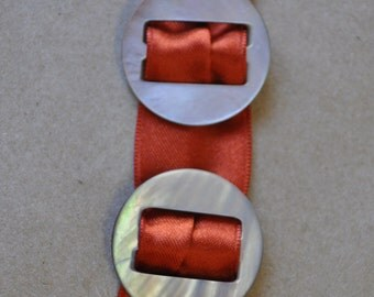 2 Vintage Smokey Mother of Pearl Ribbon Slides - Beautiful - Ribbon Belt Buckles - Vintage Mother of Pearl - MOP - Vintage Buttons