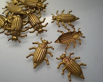 12 brass june bug charms