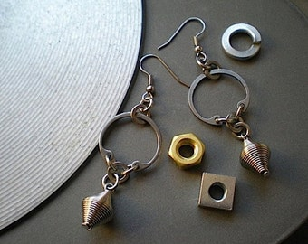 Coiled - industrial hardware earrings