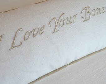 Metallic Silver Embroidery Boudoir Pillow - The Ultimate Compliment to Your Man