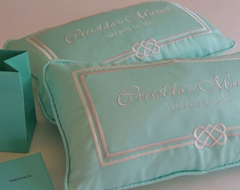 Something Blue - Pair of Blue WEDDING KNEELING PILLOWS - Padrino de Cojines -Custom Made Embroidery on Silk Bride Groom's Names Date