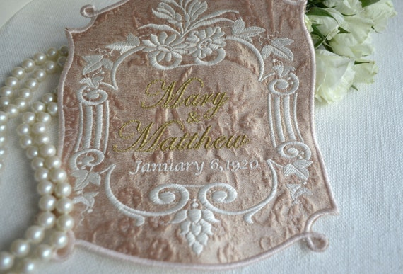 Custom Embroidered Wedding Dress Label Silk Brocade DOWNTON ABBEY COLLECTION Antique Rose and Metallic Gold