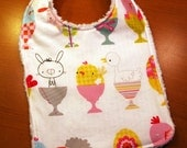 Easter Cute Critters Baby Bib - Bunnies, Lambs and Chicks in Eggcups - White with  Multi Color - Cotton and Chenille