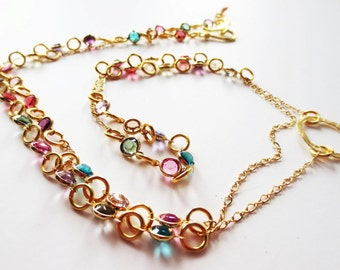 Gold long necklace.  Channel link necklace.  Crystal necklace.  Rainbow necklace.  Double wrap necklace.  Multicolor necklace.