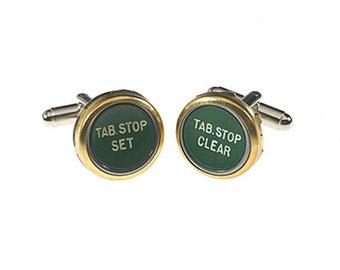 Vintage Typewriter Key Cufflinks - Green Tab Stop Set