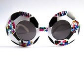 Circle Round Retro Soccer Rhinestone Frame Sunglasses // Black White Multicolored Rhinestones Shades // Jackie O Super Sunnies