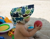 BABY BLUE ZOO, the manly little reversible boy bonnet, by Bella Sol Bebe