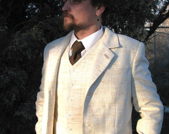 White Silk and Linen 3pc Suits----1909 Bespoke