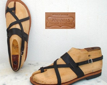 Handmade Roman Grecian leather sandals, size 8 in black