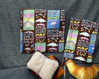 Reusable Sandwich N Snack Bag Set,  May Showers Print
