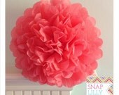 1  CORAL ROSE Tissue Paper Pom Pom/ Flowers Perfect  for a Party, Wedding and Baby Showers, Graduation, and more